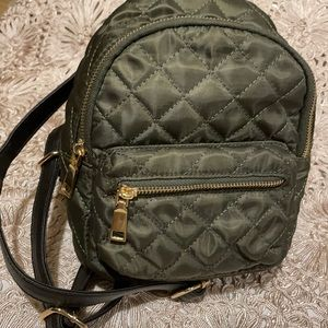 New KISSME Couture small quilted green backpack